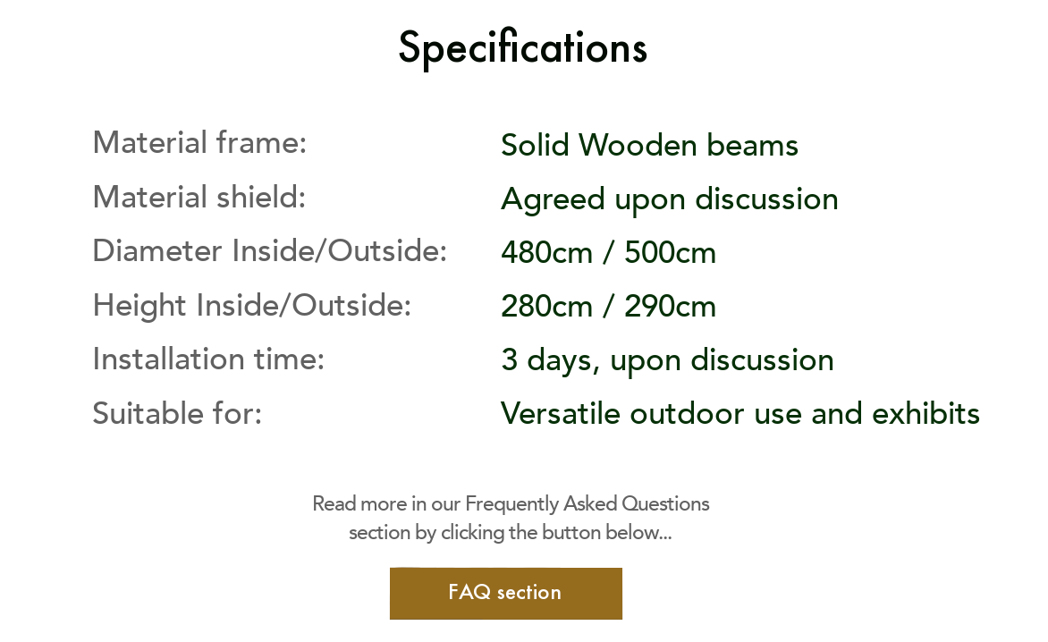 Specifications ArmaGado® Outdoor Shelter