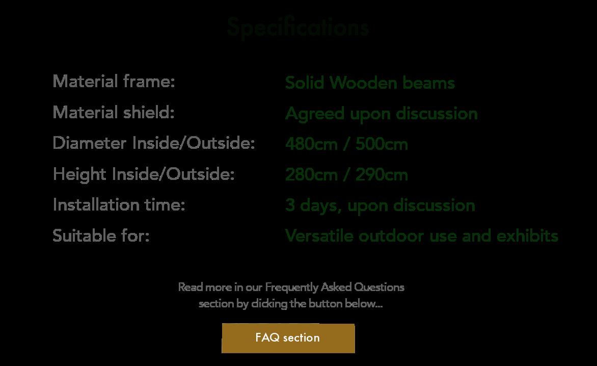 Specifications ArmaGado® Outdoor Shelter